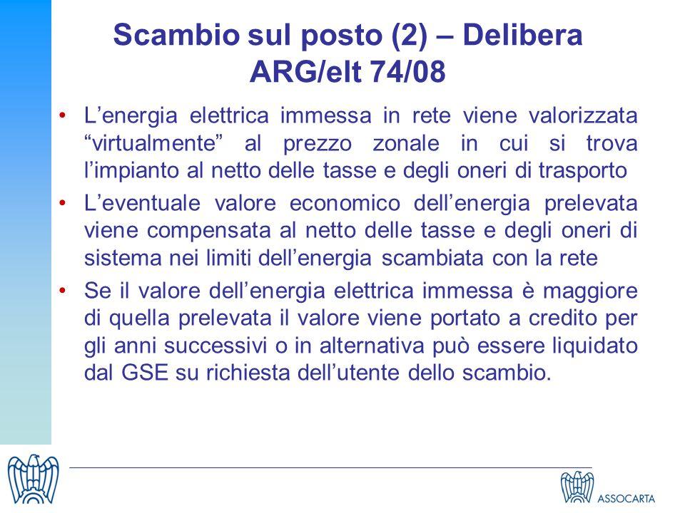 Scambio sul posto (2) – Delibera ARG/elt 74/08