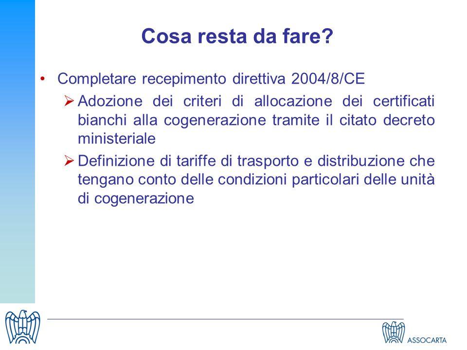 Cosa resta da fare Completare recepimento direttiva 2004/8/CE
