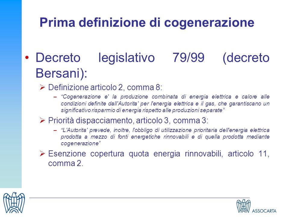 Prima definizione di cogenerazione