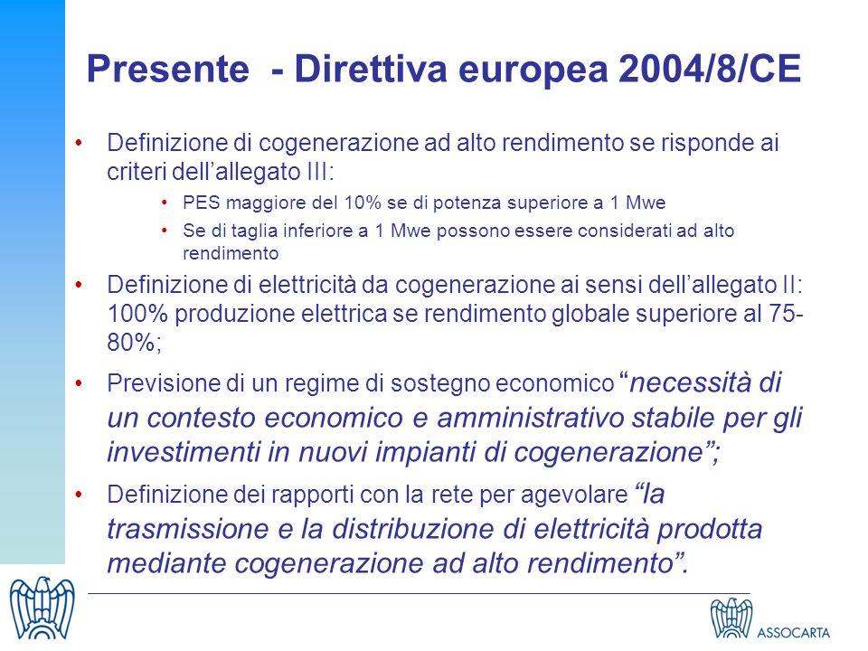 Presente - Direttiva europea 2004/8/CE