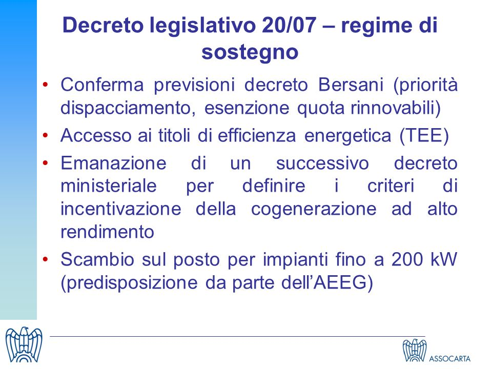 Decreto legislativo 20/07 – regime di sostegno