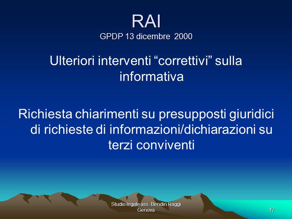 RAI GPDP 13 dicembre 2000 Ulteriori interventi correttivi sulla informativa.