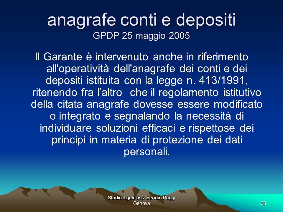 anagrafe conti e depositi GPDP 25 maggio 2005