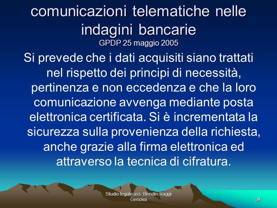 comunicazioni telematiche nelle indagini bancarie GPDP 25 maggio 2005