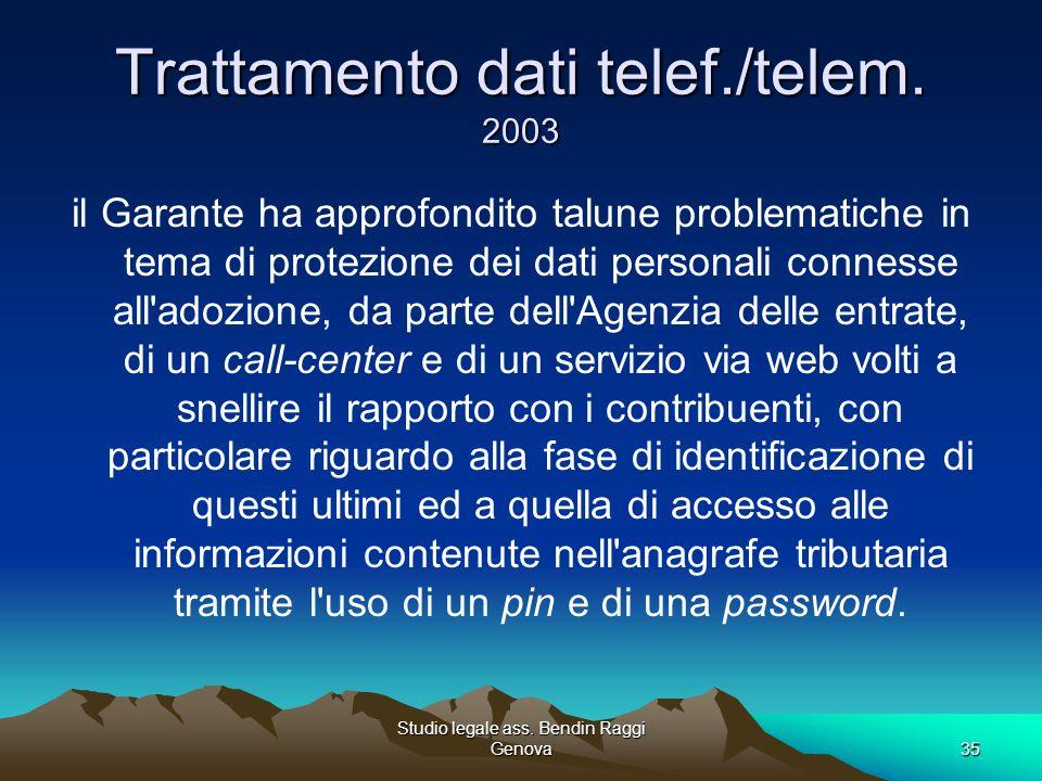Trattamento dati telef./telem. 2003