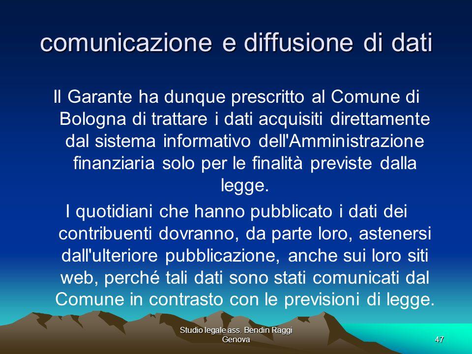 comunicazione e diffusione di dati