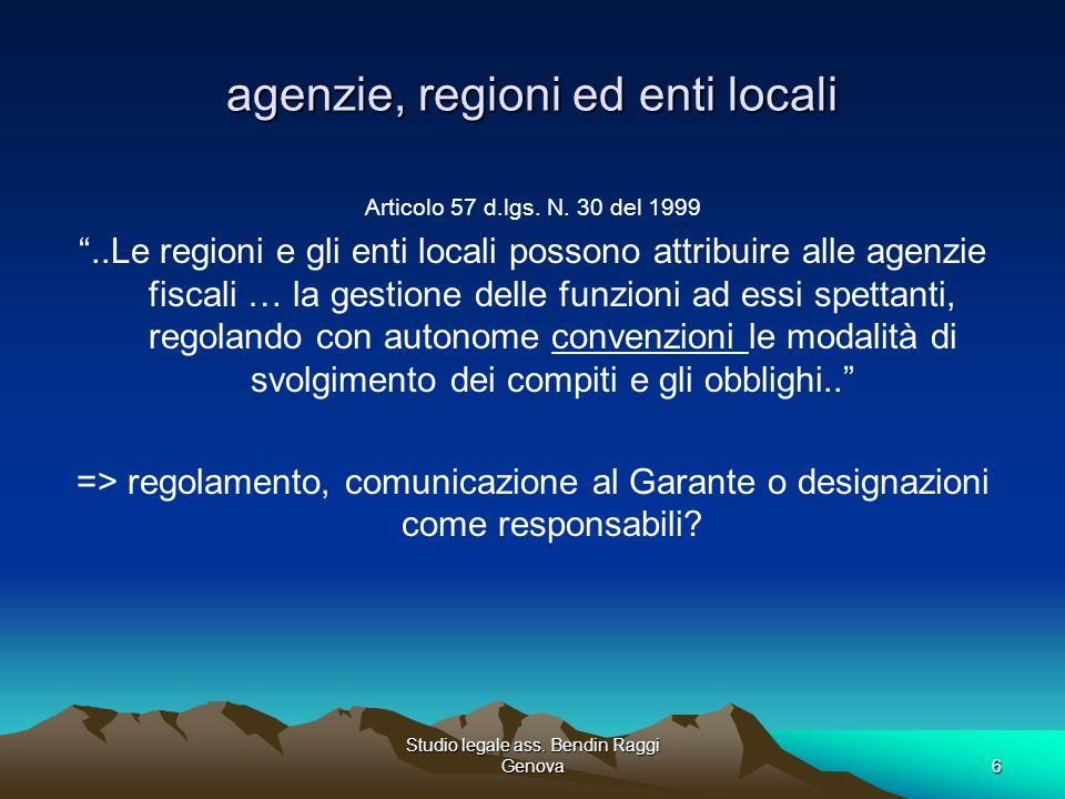 agenzie, regioni ed enti locali