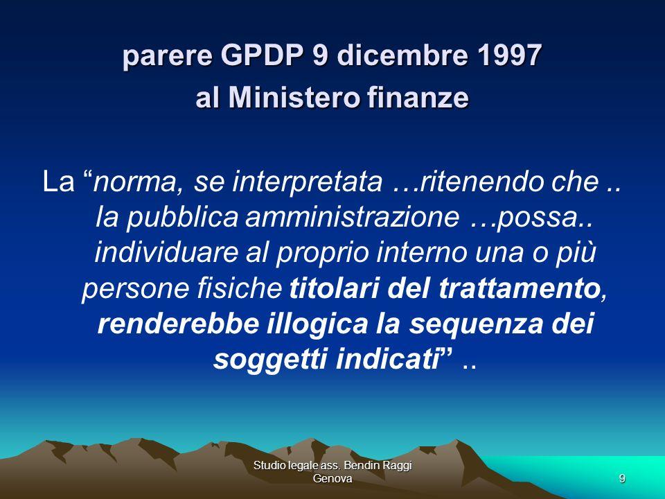 parere GPDP 9 dicembre 1997 al Ministero finanze