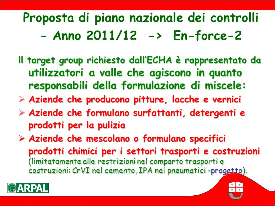 Proposta di piano nazionale dei controlli - Anno 2011/12 -> En-force-2