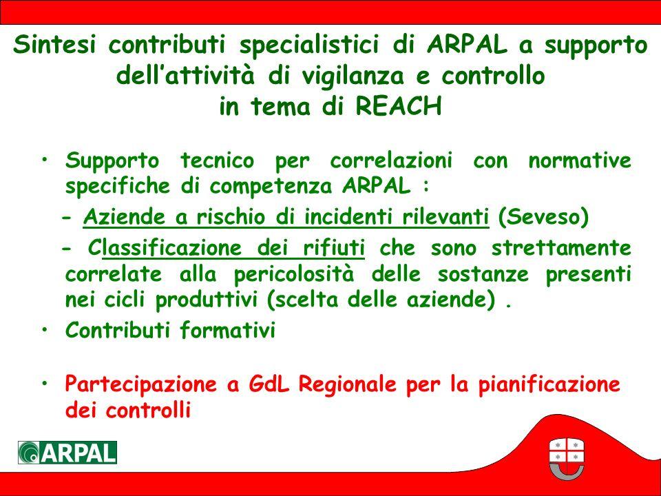 Sintesi contributi specialistici di ARPAL a supporto dell'attività di vigilanza e controllo in tema di REACH