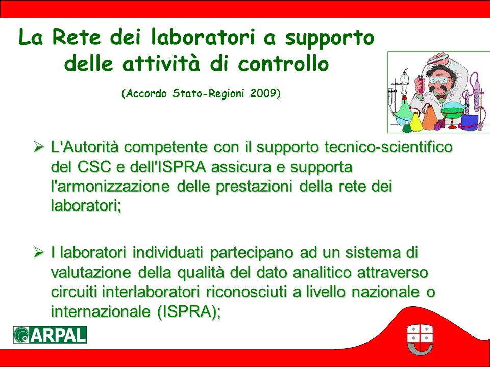La Rete dei laboratori a supporto delle attività di controllo (Accordo Stato-Regioni 2009)