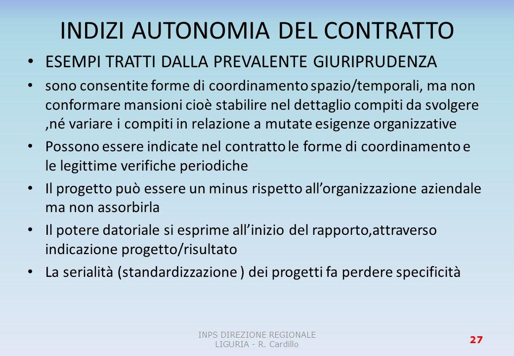 INDIZI AUTONOMIA DEL CONTRATTO