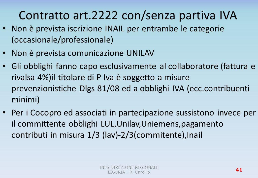 Contratto art.2222 con/senza partiva IVA