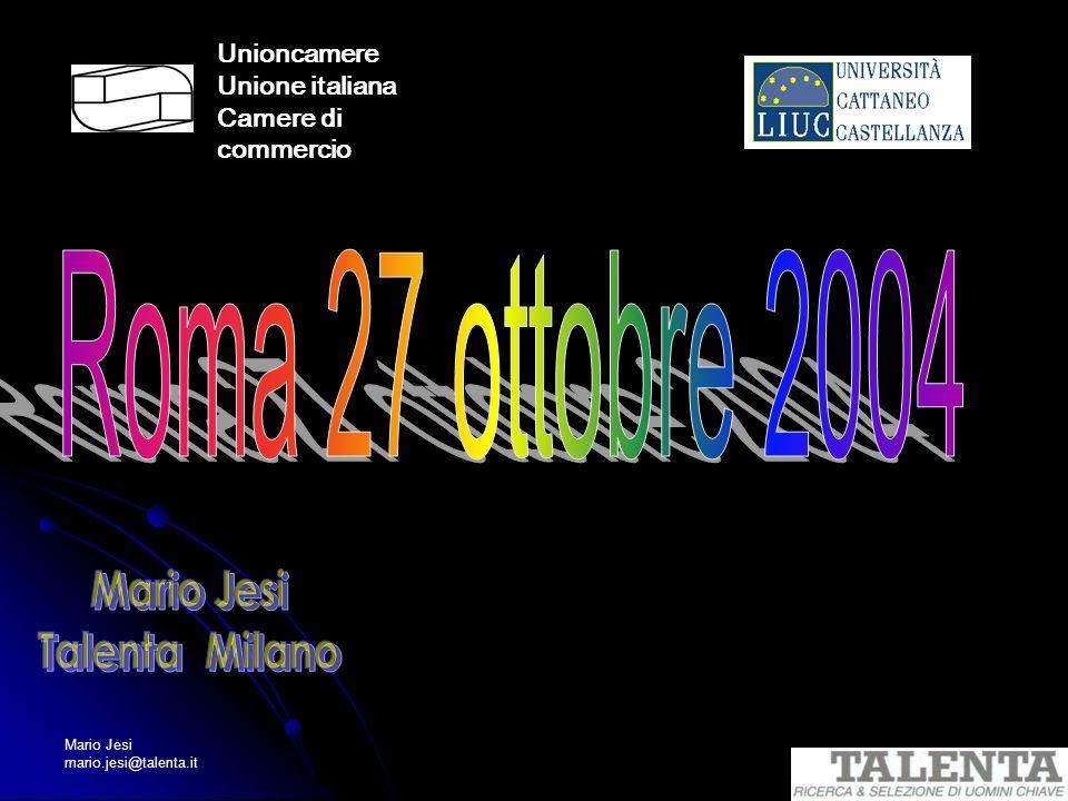Roma 27 ottobre 2004 Mario Jesi Talenta Milano Unioncamere