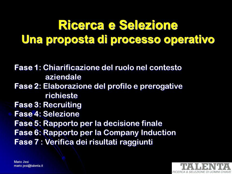 Ricerca e Selezione Una proposta di processo operativo