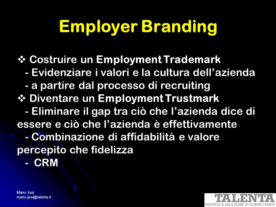 Employer Branding  Costruire un Employment Trademark