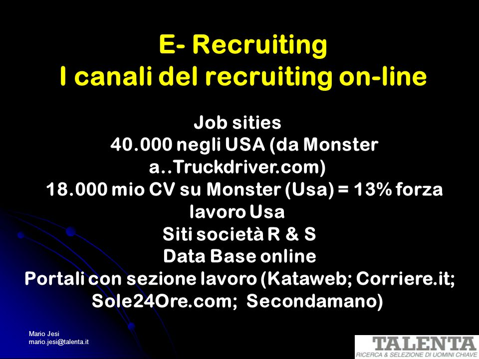 E- Recruiting I canali del recruiting on-line