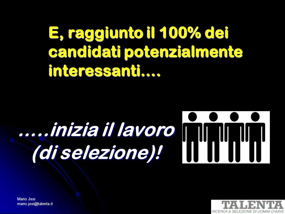 E, raggiunto il 100% dei candidati potenzialmente interessanti….