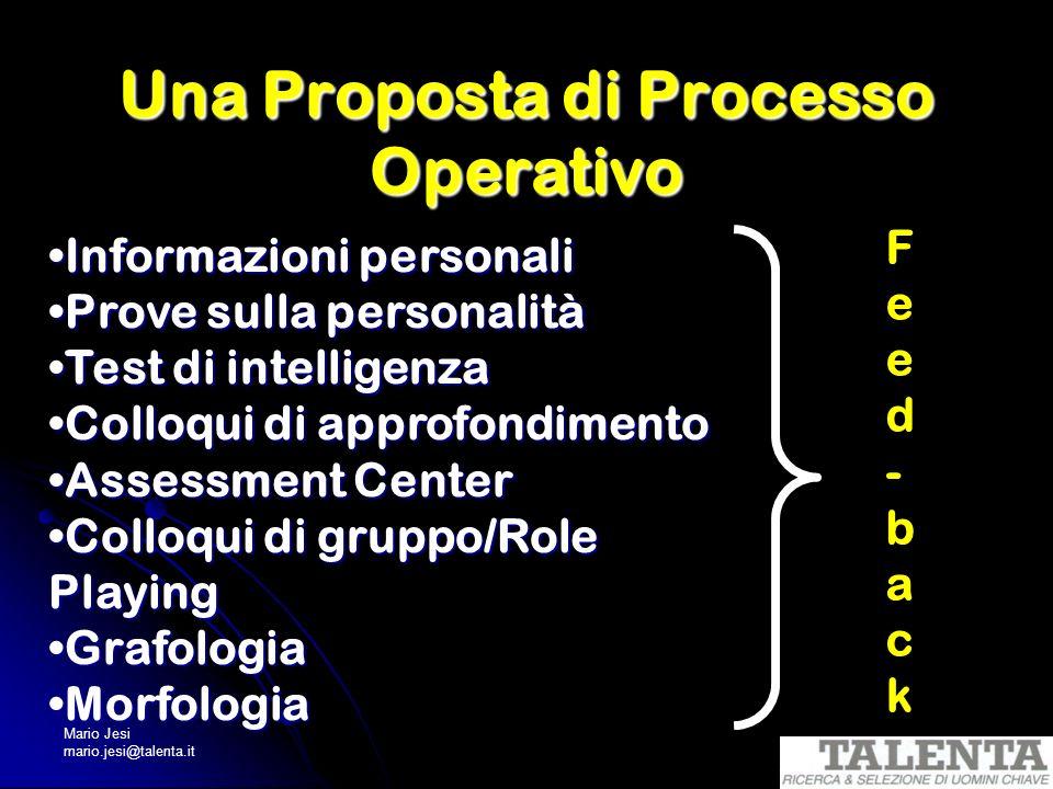 Una Proposta di Processo Operativo