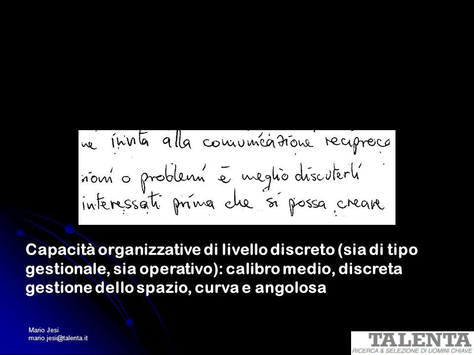 Capacità organizzative di livello discreto (sia di tipo gestionale, sia operativo): calibro medio, discreta gestione dello spazio, curva e angolosa