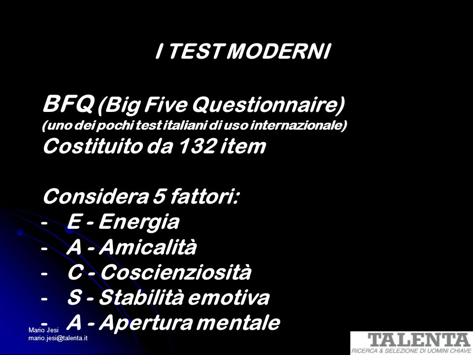 BFQ (Big Five Questionnaire)