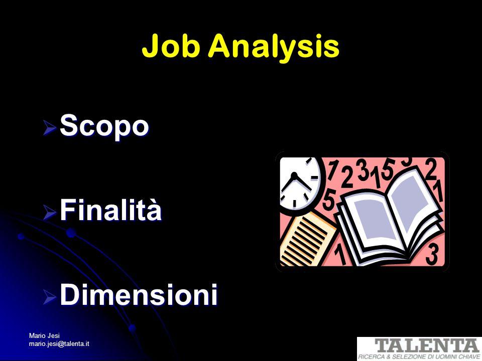 Job Analysis Scopo Finalità Dimensioni