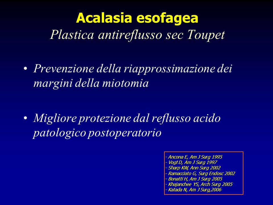 Acalasia esofagea Plastica antireflusso sec Toupet