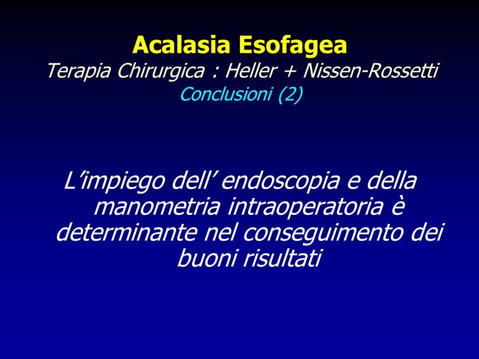 Acalasia Esofagea Terapia Chirurgica : Heller + Nissen-Rossetti Conclusioni (2)