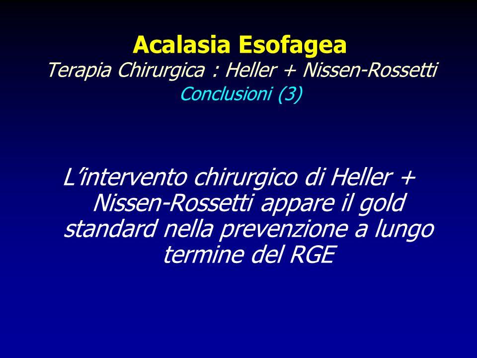 Acalasia Esofagea Terapia Chirurgica : Heller + Nissen-Rossetti Conclusioni (3)