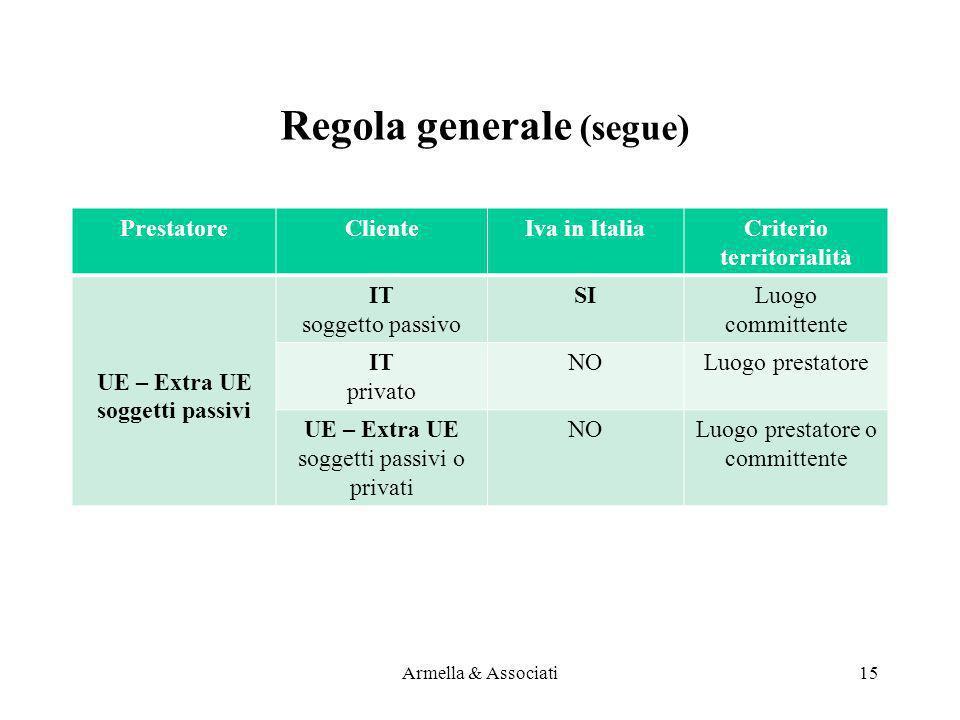 Regola generale (segue)