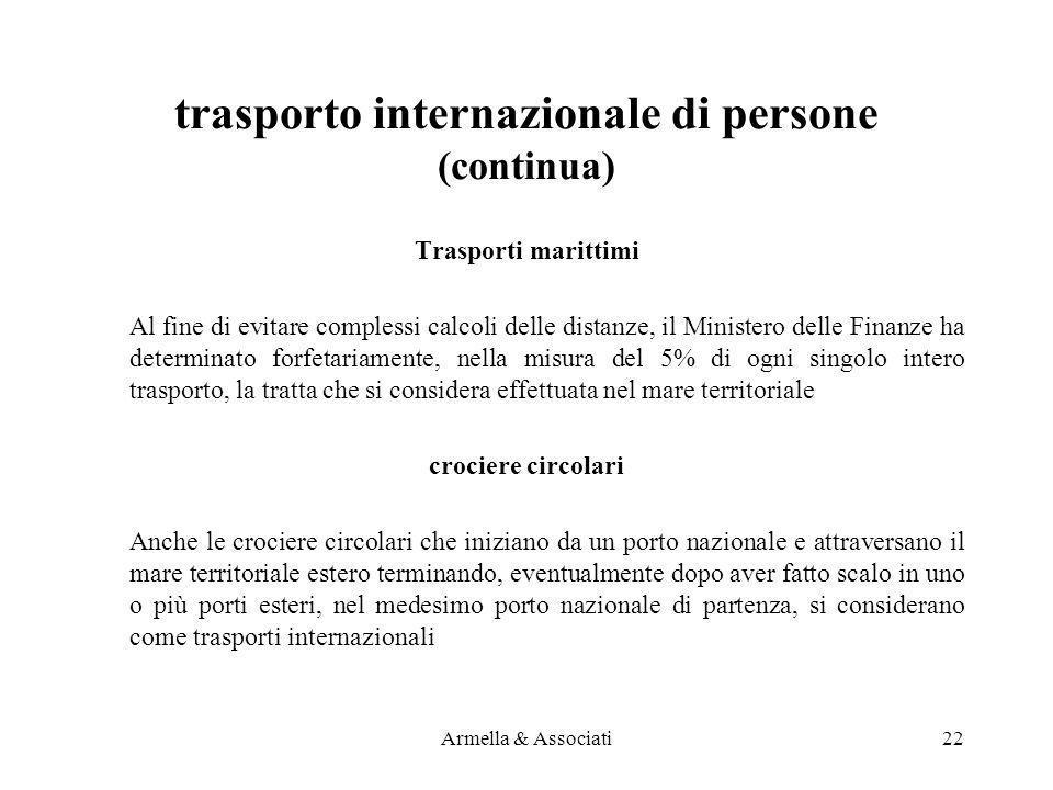 trasporto internazionale di persone (continua)