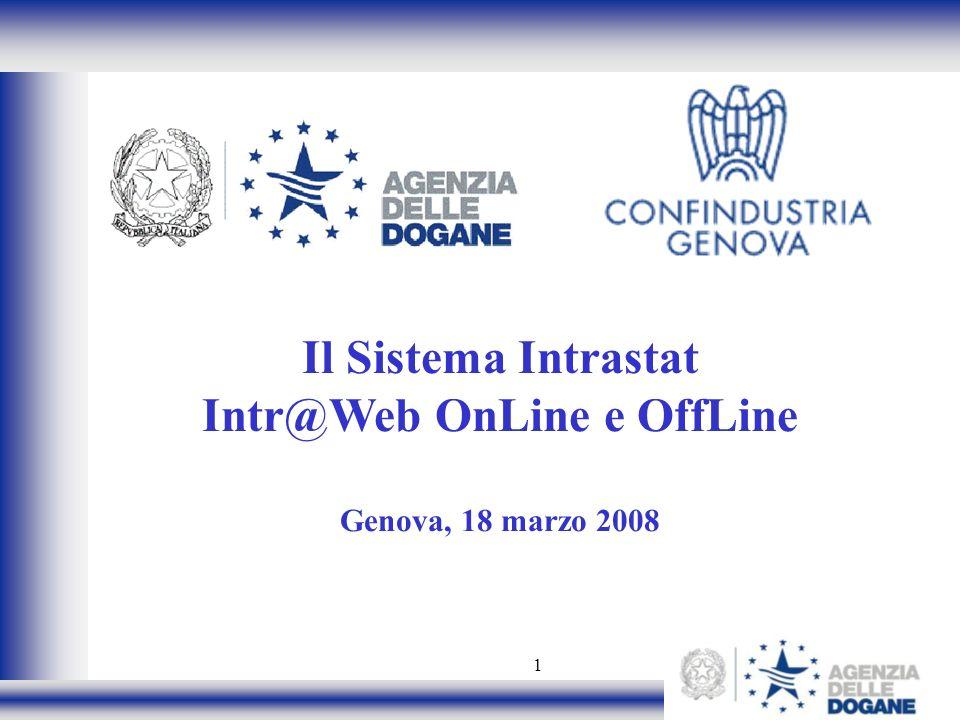 Il Sistema Intrastat Intr@Web OnLine e OffLine Genova, 18 marzo 2008