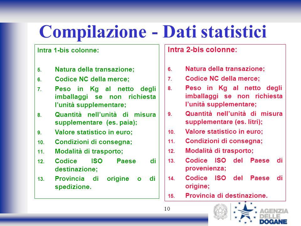 Compilazione - Dati statistici
