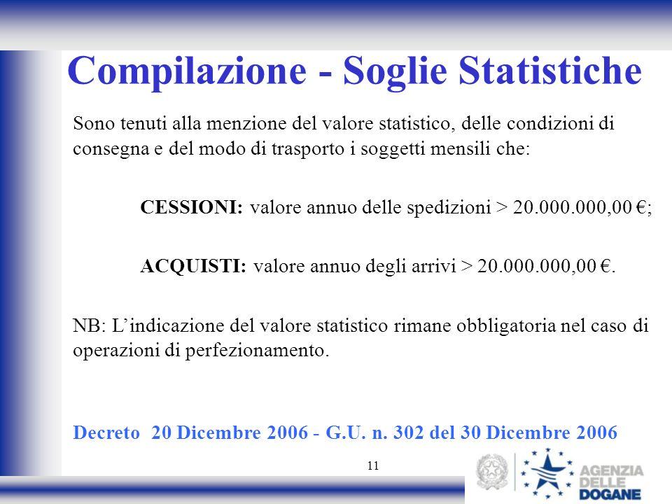 Compilazione - Soglie Statistiche