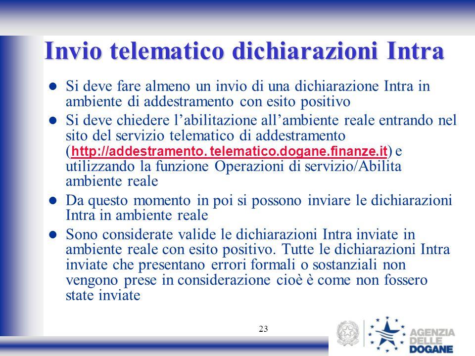 Invio telematico dichiarazioni Intra