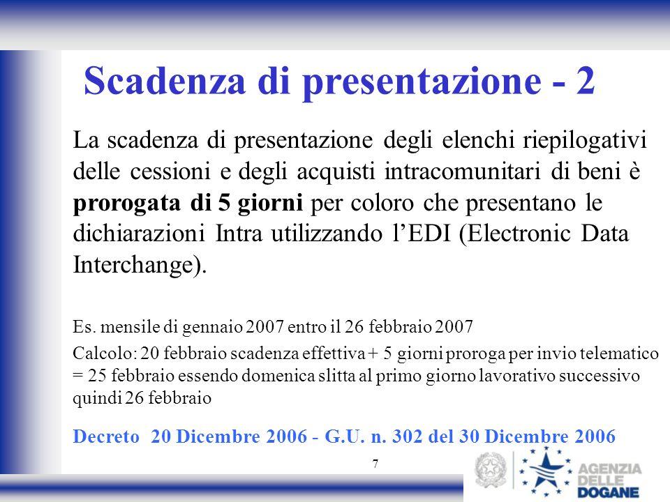 Scadenza di presentazione - 2