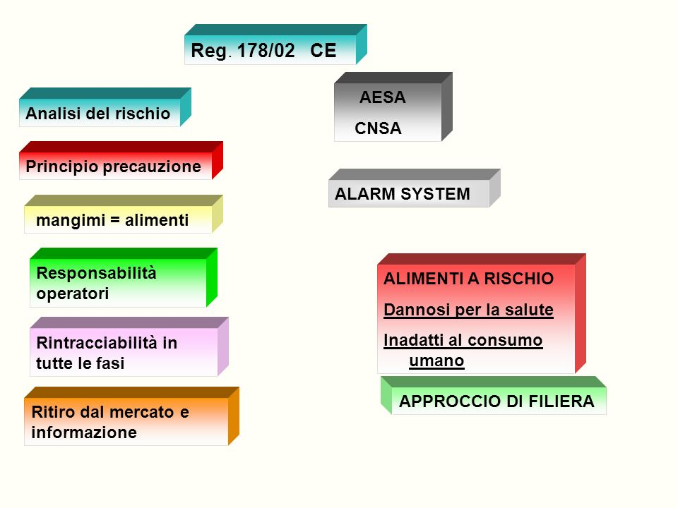 Reg. 178/02 CE AESA CNSA Analisi del rischio Principio precauzione