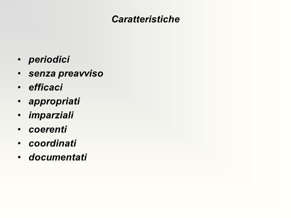 Caratteristiche periodici. senza preavviso. efficaci. appropriati. imparziali. coerenti. coordinati.