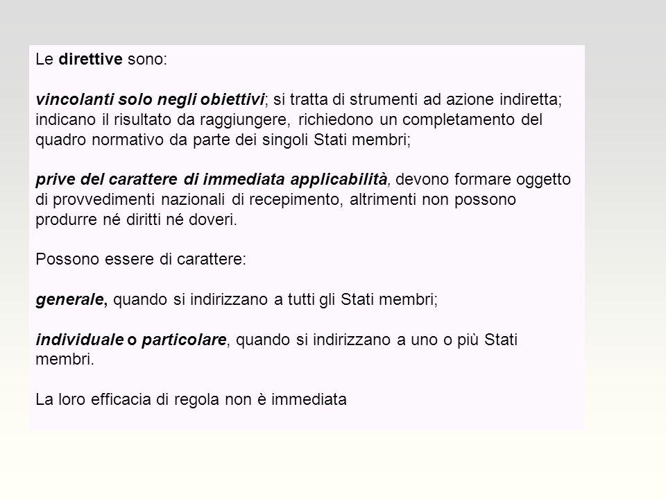 Le direttive sono: