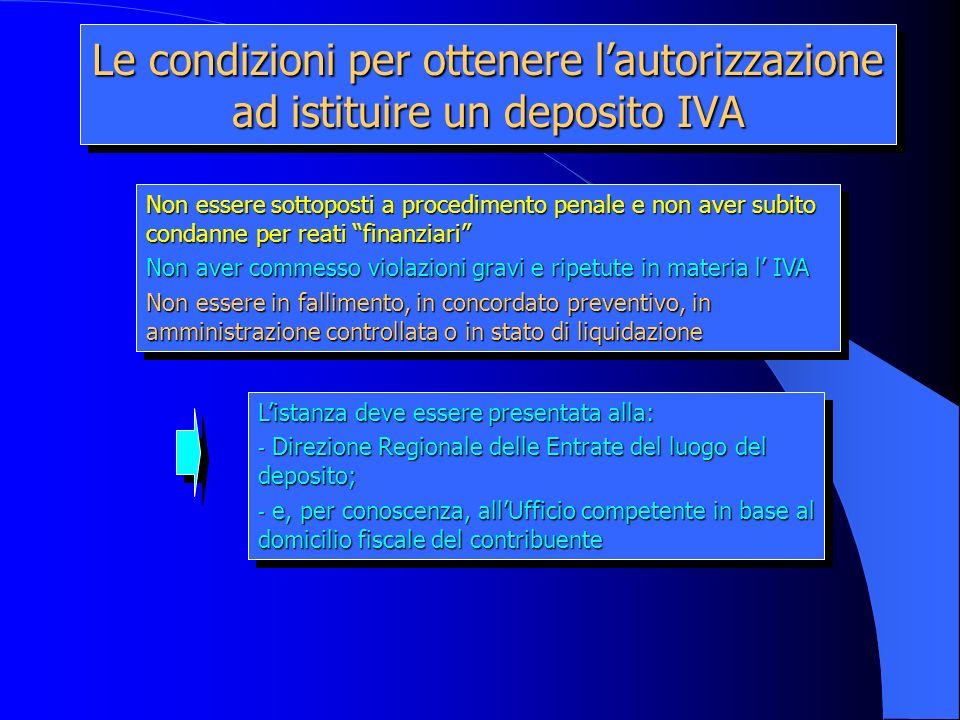 Le condizioni per ottenere l'autorizzazione ad istituire un deposito IVA
