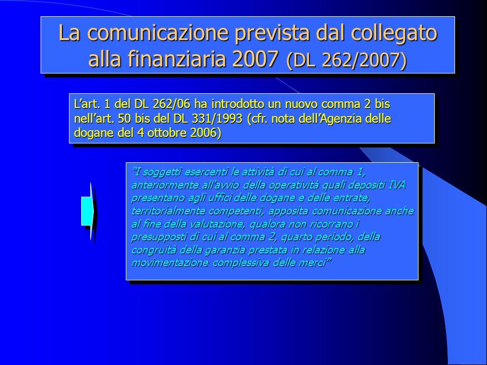 La comunicazione prevista dal collegato alla finanziaria 2007 (DL 262/2007)