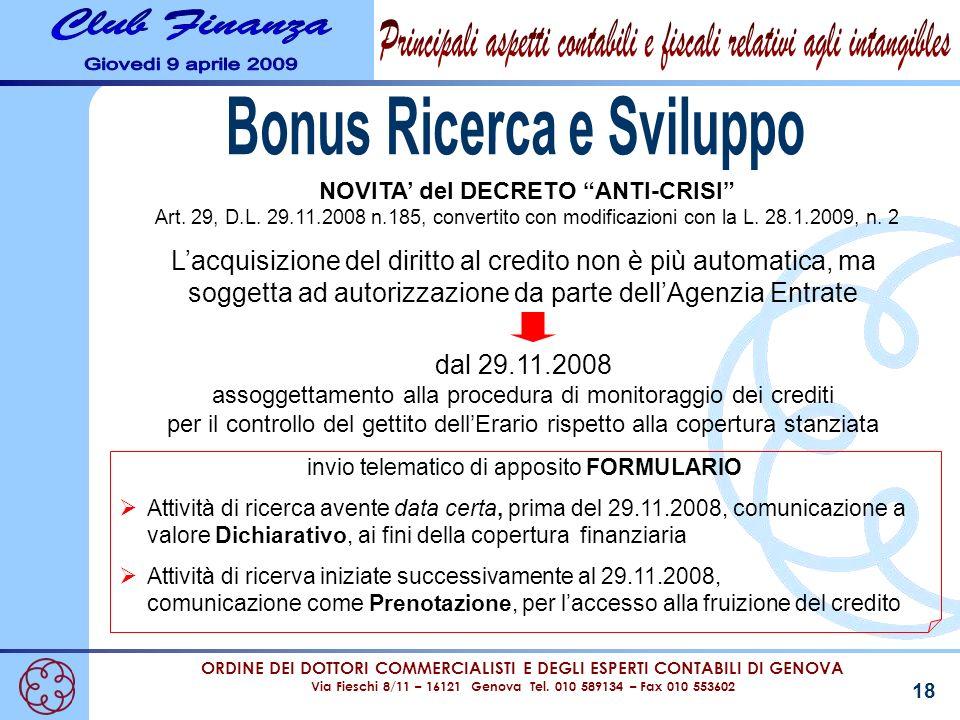 Bonus Ricerca e Sviluppo NOVITA' del DECRETO ANTI-CRISI