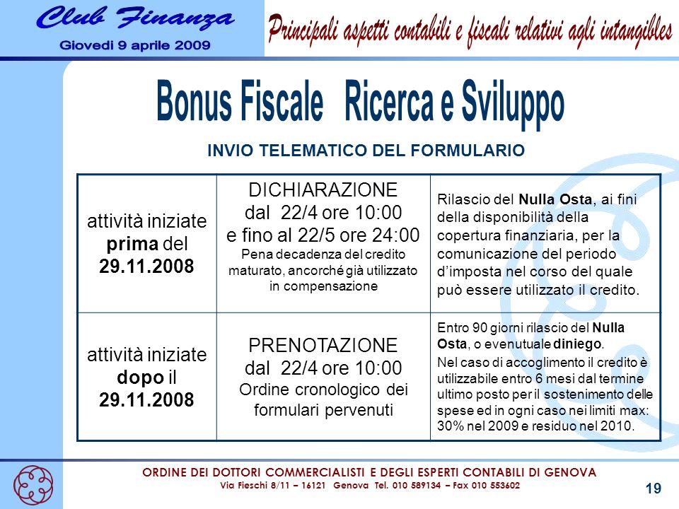 Bonus Fiscale Ricerca e Sviluppo INVIO TELEMATICO DEL FORMULARIO