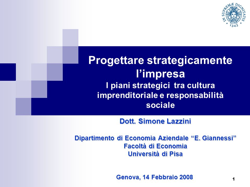 Dipartimento di Economia Aziendale E. Giannessi