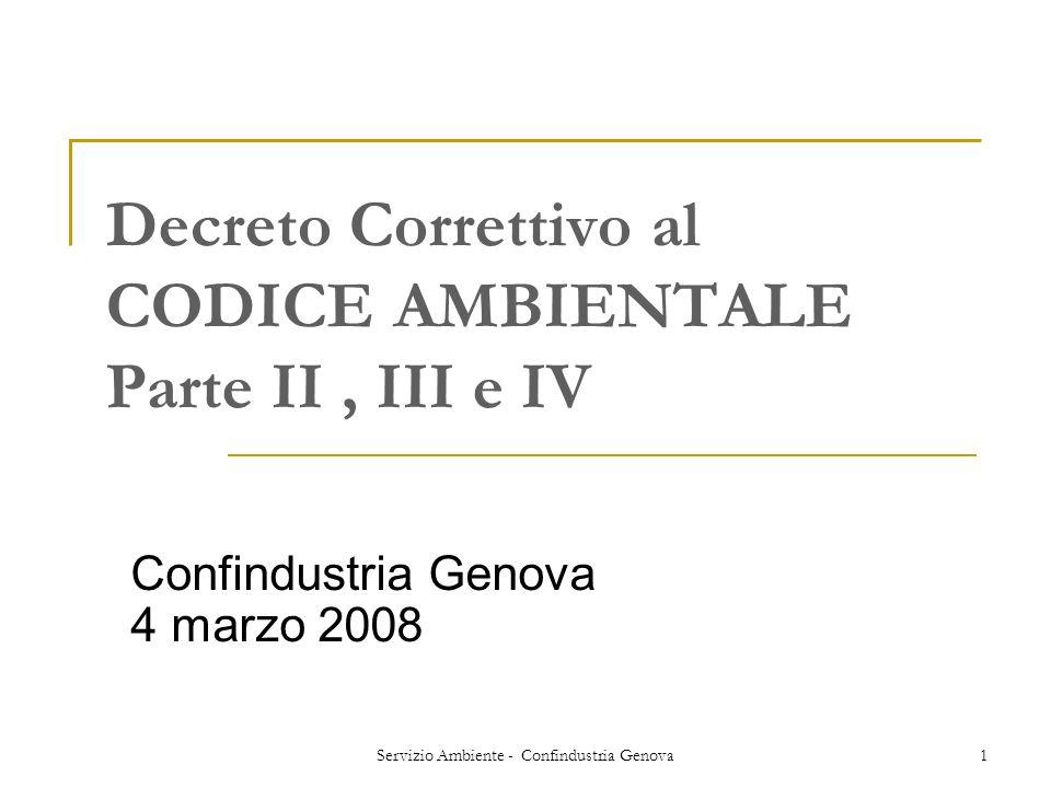Decreto Correttivo al CODICE AMBIENTALE Parte II , III e IV