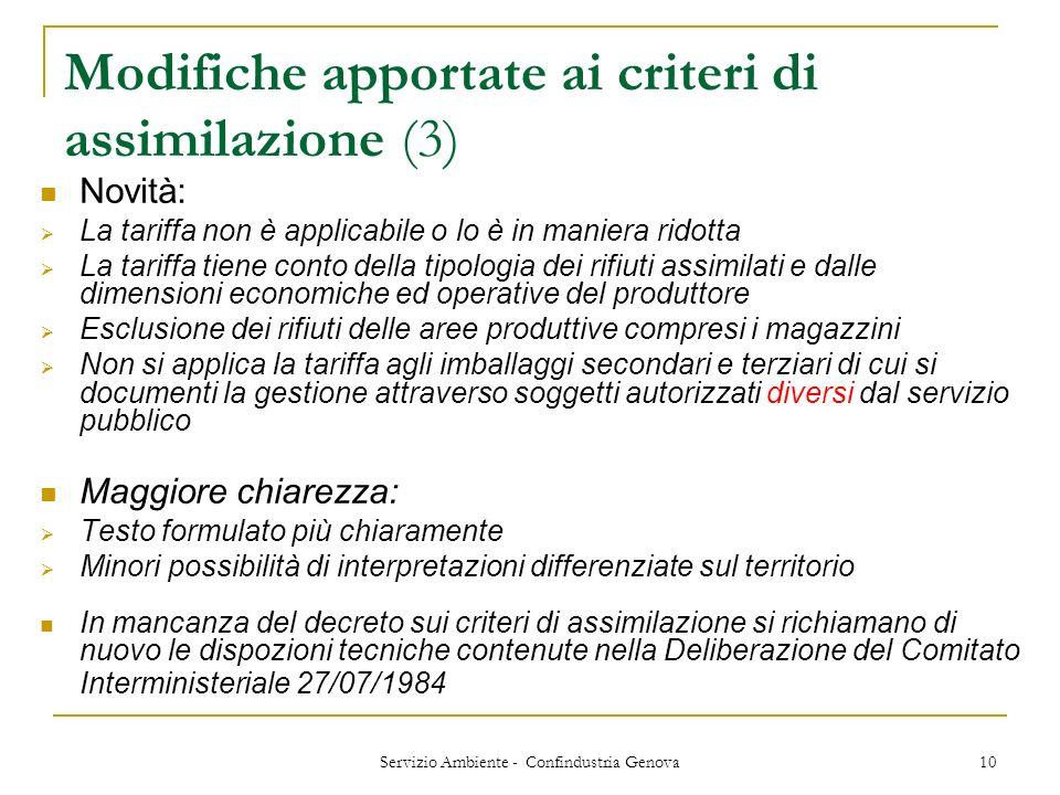 Modifiche apportate ai criteri di assimilazione (3)
