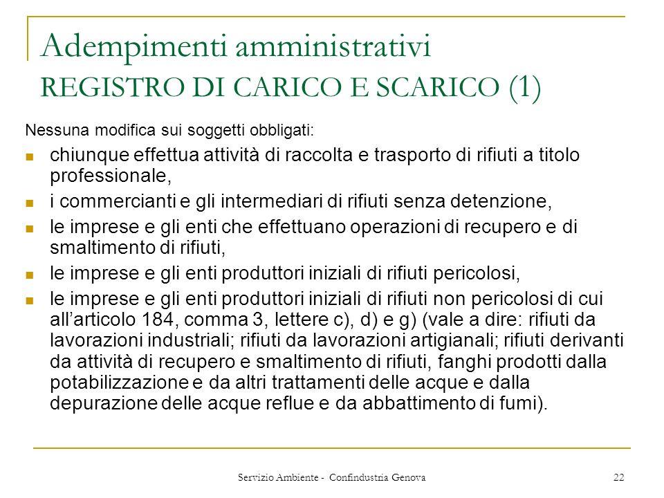 Adempimenti amministrativi REGISTRO DI CARICO E SCARICO (1)