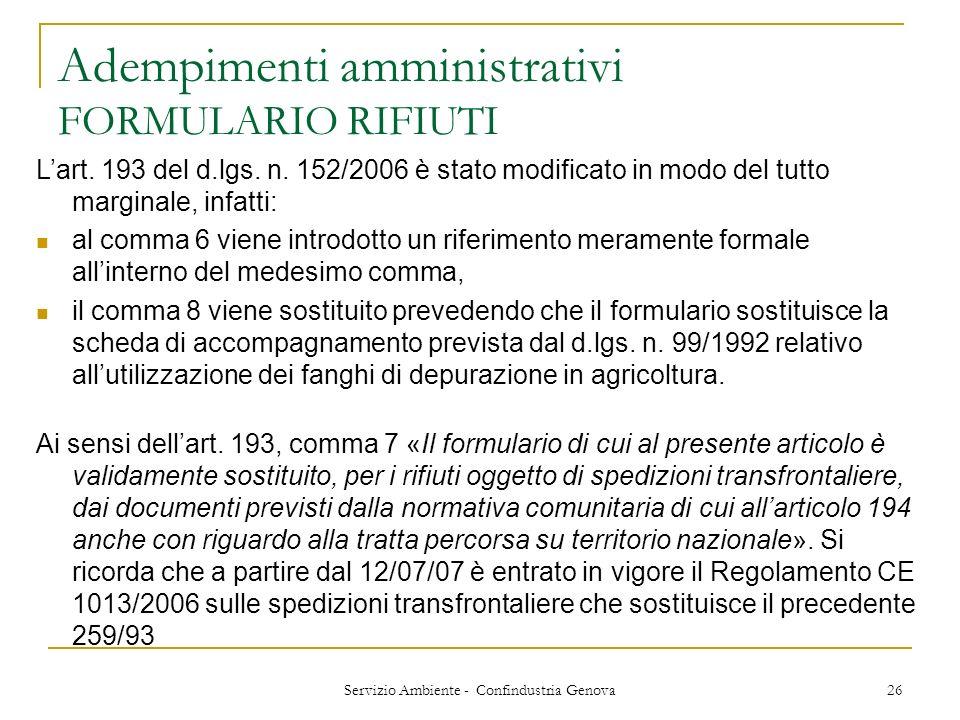 Adempimenti amministrativi FORMULARIO RIFIUTI