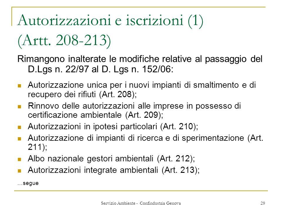 Autorizzazioni e iscrizioni (1) (Artt. 208-213)
