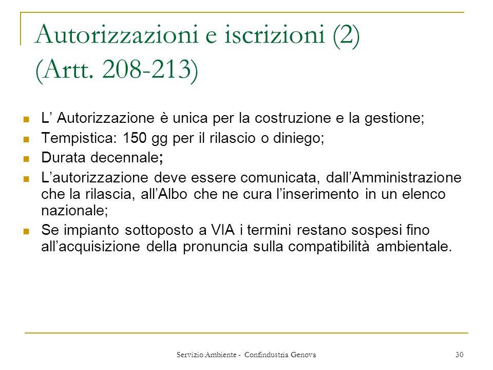 Autorizzazioni e iscrizioni (2) (Artt. 208-213)